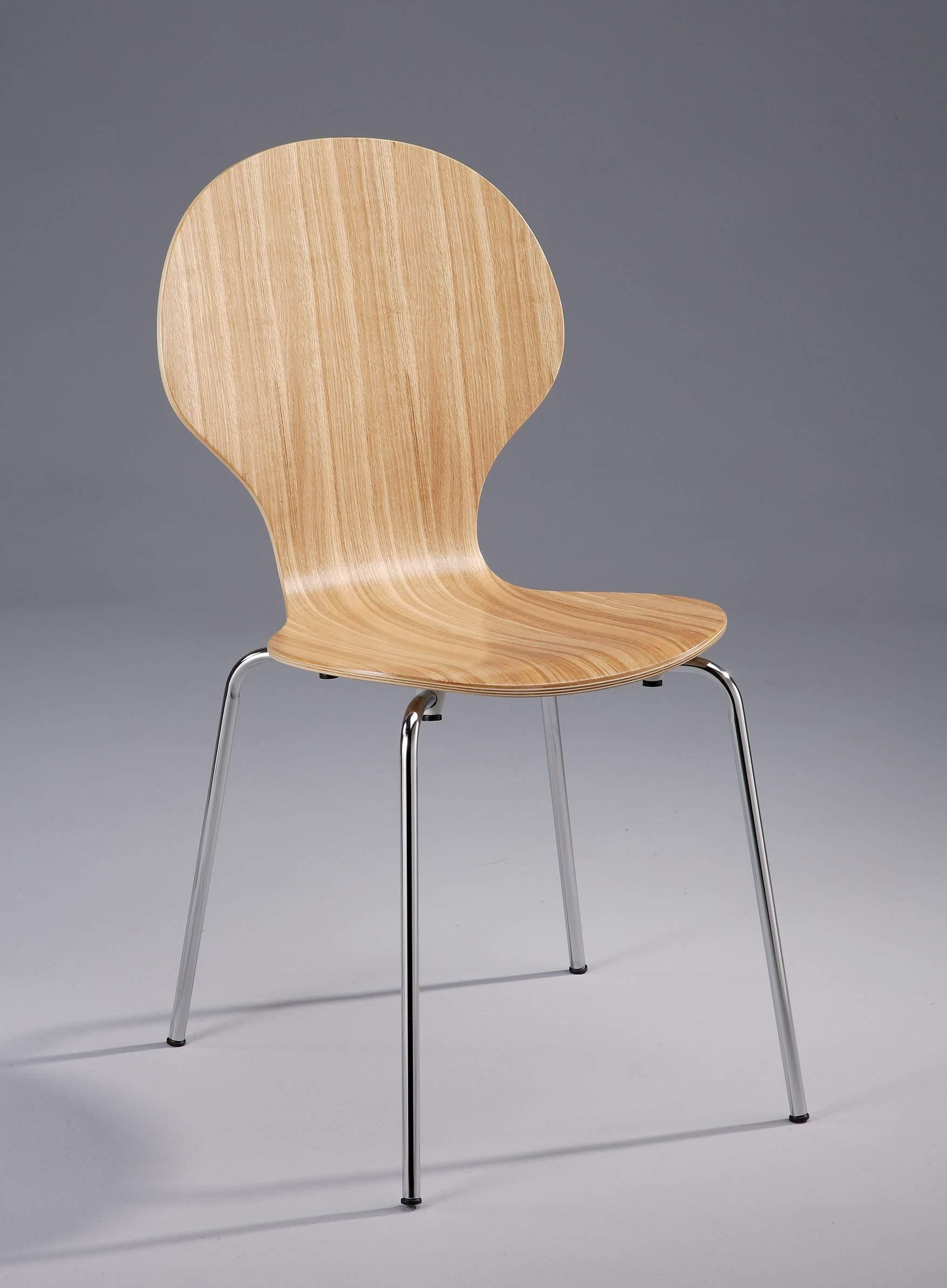 Metal Legs Frame Oak Veneer Bentwood Round Dining Chair