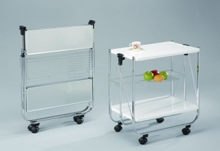 Foldable Steel Plate Serving Trolley Cart - SA016 | Powder coating metal panels