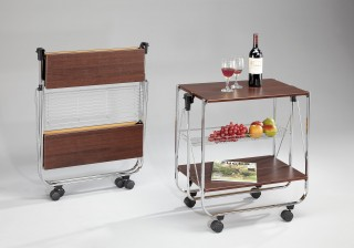 Foldable Wood Serving Trolley Cart