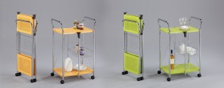 Foldable Steel Plate Serving Trolley Cart - SA017 | Colorful panels for your choice.