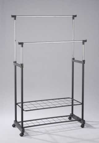 Metal Double Hanging Bar Clothes Trolley Cart with Shoes Rack