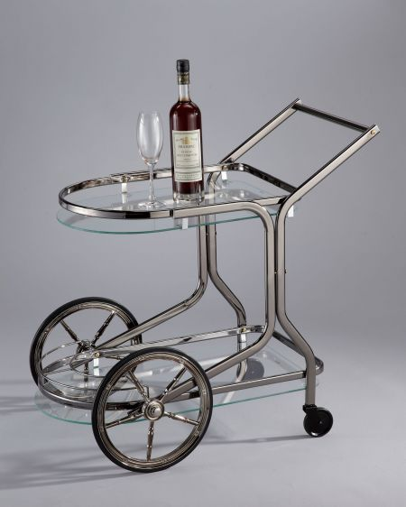 Glass Wine Trolley Cart - SA053 | , tempered glass in black nickel, chrome or brass  metal finishing. 2 big carriage wheels .