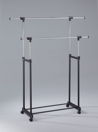 Metal Double Hanging Bar Extending Clothes Trolley Cart