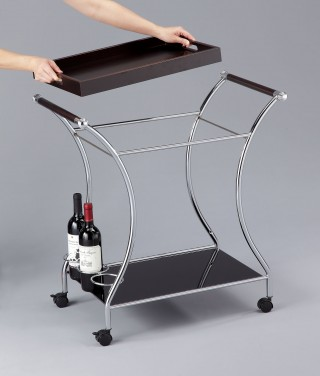 Wood Wine Trolley Cart - STR008 | movable top tray