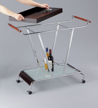 Wood Wine Trolley Cart - STR012 | movable top tray