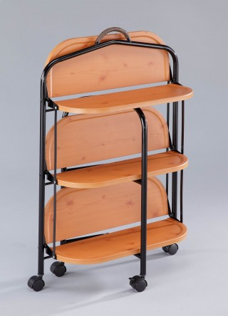 3 Shelve Foldable Wood Serving Trolley Cart -  | foldable