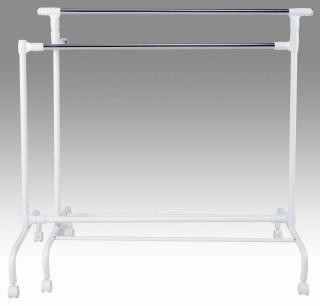 Metal Double Hanger bar Extending Clothes Trolley Cart