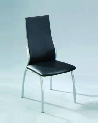Round Tube Synthetic Leather High Back Dining Chair