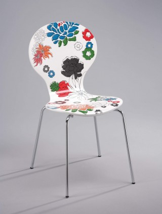 Flower Printed Holland Style Design Bentwood Dining Chair