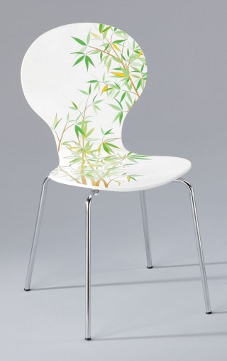 Bamboo Printed Design Bentwood Dining Chair