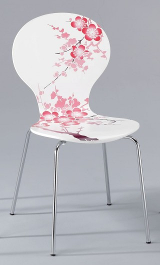 Plum Blossom Printed Design Bentwood Dining Chair