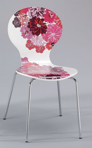 Flower Printed US Style Design Bentwood Dining Chair - SC008E |