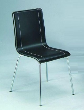 Metal Tube Legs Synthetic Leather Bentwood Dining Chair w/ Line Decoration