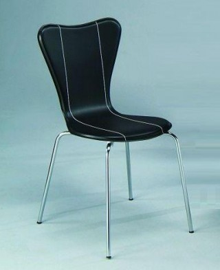 Metal Tube Legs Synthetic Leather Bentwood Triangular Dining Chair w/ Line