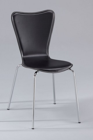 Metal Tube Legs Synthetic Leather Bentwood Triangular Dining Chair
