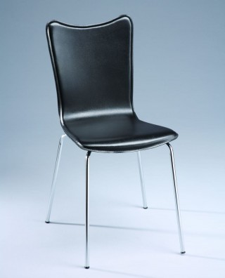 Metal Tube Legs Synthetic Leather Tulip Shape Bentwood Dining Chair