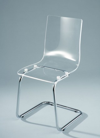 Wrought Metal Legs Frame Acrylic Dining Chair