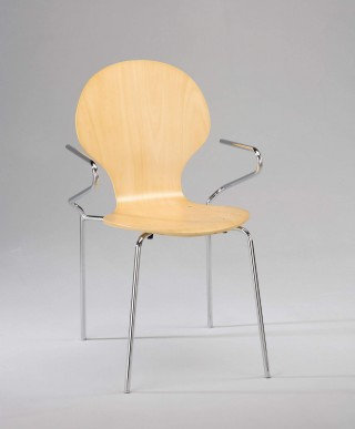 Metal Legs  Bentwood Dining Chair with Armrest