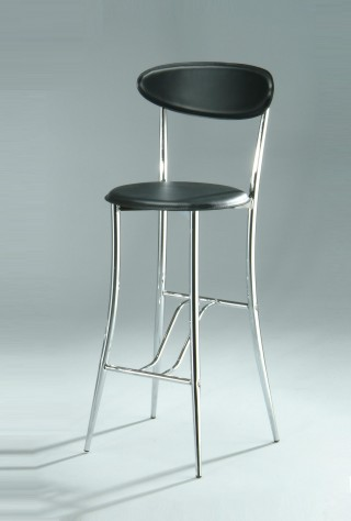 Tapered Metal Leg Frame Synthetic Leather Bentwood Bar Stool Chair