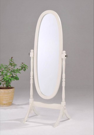 Solid Wood Oval Standing Mirror