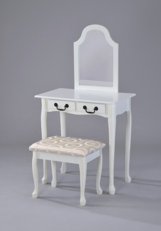 Solid Wood Dressing Table & Stool with Mirror