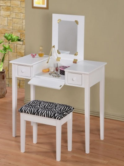 Filp-Top Mirror Makeup writing Desk