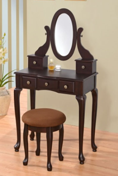 Oval Mirror, 5 Drawers Makeup Desk Set