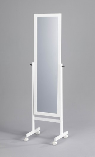Mobile Wooden Rectangular Standing Mirror
