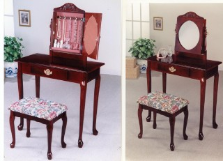 Solid Wood Dressing Table & Stool with Mirror - SM014 | , Cherry color,  organizered mirror box