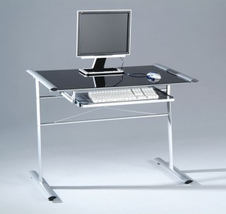 Black Printed Glass Computer Desk