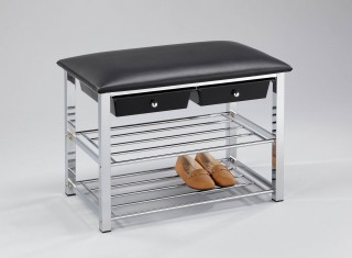 2-Tier Shoes Rack Bench with 2 drawers