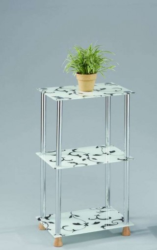 3-Tier Flower Printed Glass Storage Shelf