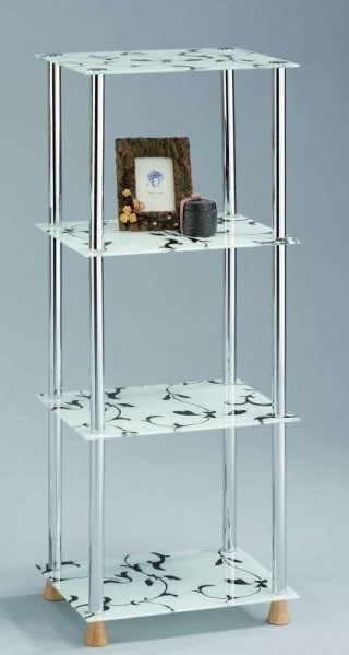 4-Tier Flower Printed Glass Storage Shelf
