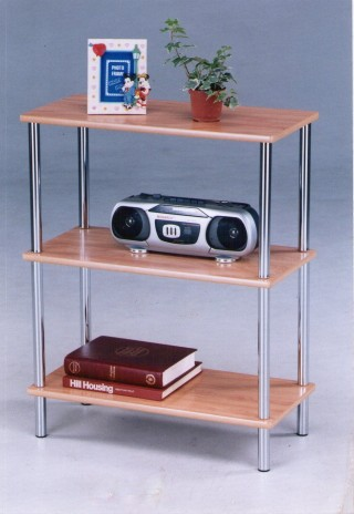 Metal Tube 3-Tier Wood Storage Shelf