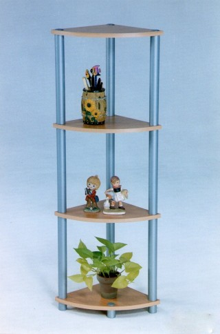 Plastic Tube 4-Tier Wood Corner Storage Shelf
