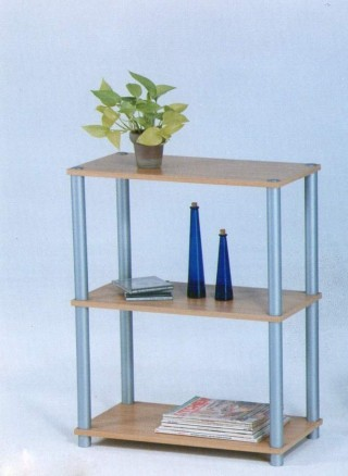 Plastic Tube 3-Tier Wood Storage Shelf - SS011 |