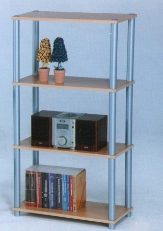 Plastic Tube 4-Tier Wood Storage Shelf - SS012 |