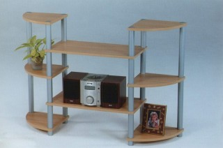 Plastic Tube 8-Tier Wood Storage Entertainment Shelf