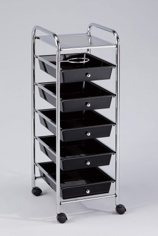 5 Small Drawers Rolling Organizer Plastic Cart with Hairdryer Rack