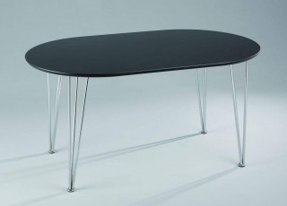 Metal tube Oval Wooden Dining Table