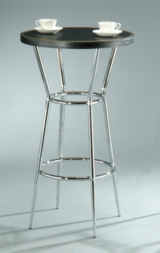 Tapered Metal Leg Frame Synthetic Leather Bar Table