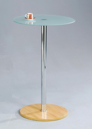Metal Leg Frame Round Glass Bar Table