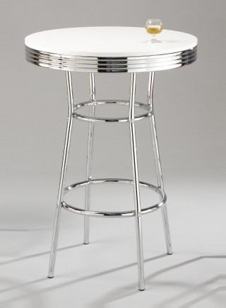 Metal Leg Frame Round Wood Bar Table