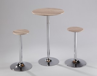 3 Piece Round Oak Embossment Bar Table Set