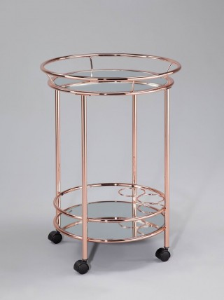 Glass Wine Trolley Cart - STR003 | ,safty mirror tiers ( anti-burst film available) , copper frame