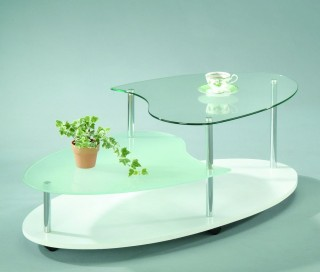 Stylish Oval Glass Coffee Table Trolley