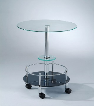 Stylish Round Glass Mobile End Table