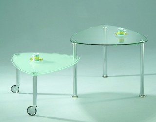 Stylish Triangular Glass Turning Coffee Table - STS078 |