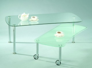Stylish Rectangular Glass Turning Coffee Table
