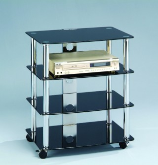 Mobile 4-Tier Glass Stereo Stand